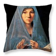 Virgin Of Annunciation Painting By Antonello Di Antonio Dit Antonello Da Messina Throw Pillow