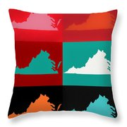 Virginia Pop Art Map Throw Pillow