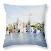Vittorio Emanuele In Rain Throw Pillow