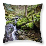 Vivid Green In The Black Forest Throw Pillow