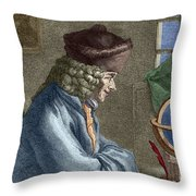 Voltaire In His Office In Vernay Throw Pillow