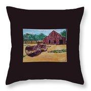 Wagons And Barns Throw Pillow