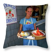 Waitress Serving Lobster  Throw Pillow