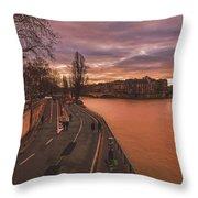 Walking Along The Seine At Sunset Throw Pillow