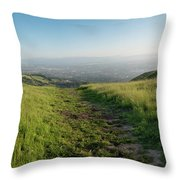 Walking Downhill Large Trail With Silicon Valley At The End Throw Pillow