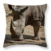 Walking Rhino With One Large Horn And One Small Horn Throw Pillow