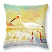 Walking The Waves Of Sanibel Throw Pillow