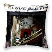 Wall, Sorry Throw Pillow by Edward Lee