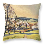 Warm Spring Light In The Fruit Orchard Throw Pillow