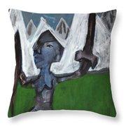 Warrior In A Field Throw Pillow