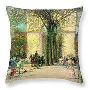 Washington Arch, Spring - Digital Remastered Edition Throw Pillow