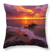 Washington Coast Sunset Serene Evening Throw Pillow