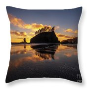 Washington Coast Weeping Lady Sunset Cloudscape Throw Pillow