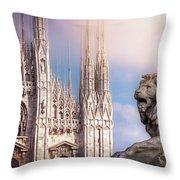 Watching Over The Duomo Milan Italy  Throw Pillow