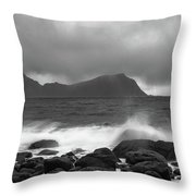 Water Hits The Coastline During Storm Throw Pillow