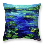 Water Lilies Story Impressionistic Impasto Palette Knife Oil Painting Mona Edulesco Throw Pillow