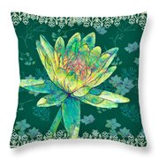 Water Lily And Lace Throw Pillow
