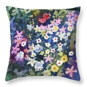 Watercolor - Alpine Wildflower Design Throw Pillow