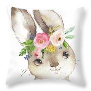 Watercolor Boho Bunny Rabbit Art Print Throw Pillow