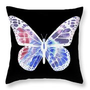 Watercolor Butterfly On Black V Throw Pillow