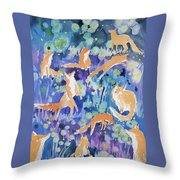 Watercolor - Fox And Firefly Design Throw Pillow