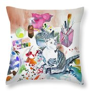 Watercolor - Kitten On My Painting Table Throw Pillow