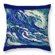 Watercolor - Ocean Wave Design Throw Pillow
