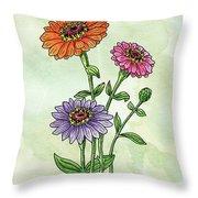 Watercolor Orange Pink Purple Zinnia Flowers Throw Pillow
