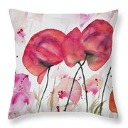 Watercolor - Poppy Portrait Throw Pillow