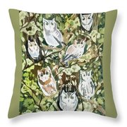 Watercolor - Screech Owl And Forest Design Throw Pillow