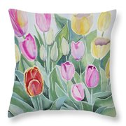 Watercolor - Spring Tulips Throw Pillow