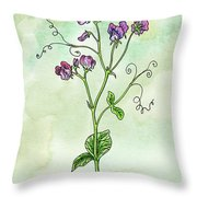 Watercolor Sweet Pea Flower Botanical Throw Pillow