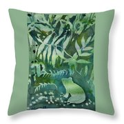 Watercolor - Tree Frog Design Throw Pillow by Cascade Colors