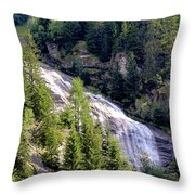 Waterfall In The Mountains. Throw Pillow