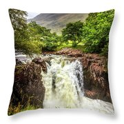 Waterfall Under The Mountain Throw Pillow