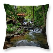 Waterfall With Wooden Bridge Throw Pillow