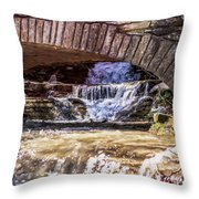 Waterfalls Through Stone Bridge Throw Pillow