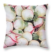 Watermelon Radishes And A Teeny Ear Of Corn Throw Pillow