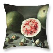 Watermelons And Figs On A Stone Ledge  Throw Pillow