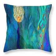 Watery Abstract Xviii - Women And Candles Throw Pillow