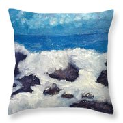 Wave Over Rocks Throw Pillow