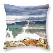 Waves At Work Throw Pillow