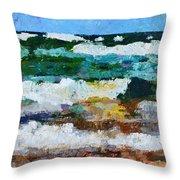 Waves Crash - Painting Version Throw Pillow