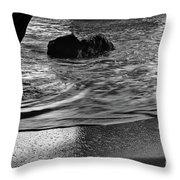Waves From The Cave In Monochrome Throw Pillow