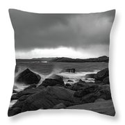 Waves Hitting The Rocks Throw Pillow