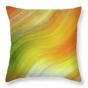 Wavy Colorful Abstract #4 - Yellow Green Orange Throw Pillow by Patti Deters