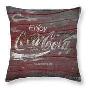 Weathered Coca Cola Sign Throw Pillow
