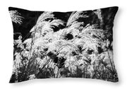 Weed Grass Black And White Throw Pillow