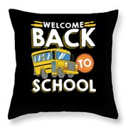 Welcome Back To School Kids School Bus Throw Pillow