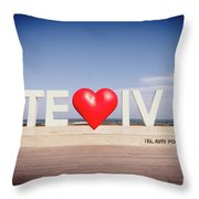 Welcome To Tel Aviv Port Throw Pillow